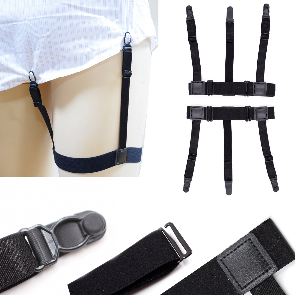 2pcs/pair Mens Shirt Stays Garters Elastic Nylon Adjustable Shirt Holders Crease-Resistance Belt Shirt Suspenders Clips