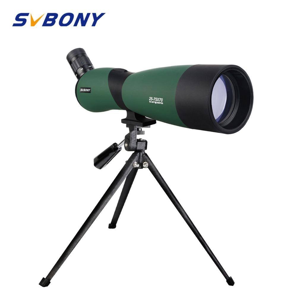 SVBONY SV403 зум телескоп 20-60X60/25-75x70mm Зрительная труба с многослойным покрытием оптика монокуляр 64-43ft/1000 ярдов w/настольный штатив для охоты, стрел... title=