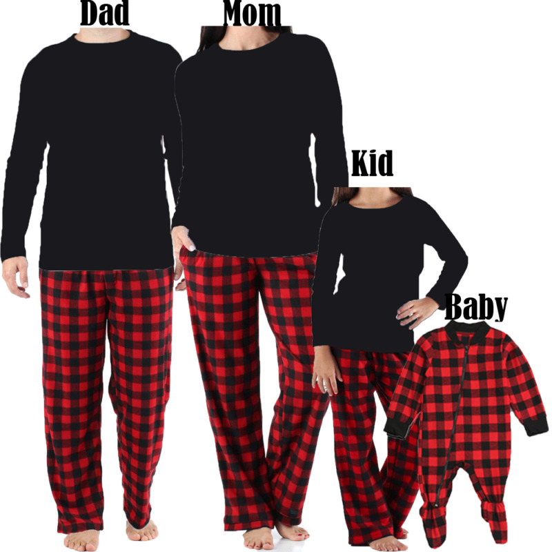 Family Matching Christmas Pajamas Set Men Women Kids Baby Tracksuit Nightwear Red Plaid Cotton Black Solid Tops Pants Casual