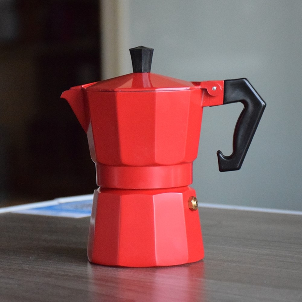Colorful Mini Aluminum <font><b>Coffee</b></font> Moka Pot 3cups mocha <font><b>coffee</b></font> maker Professional Barista Tools image