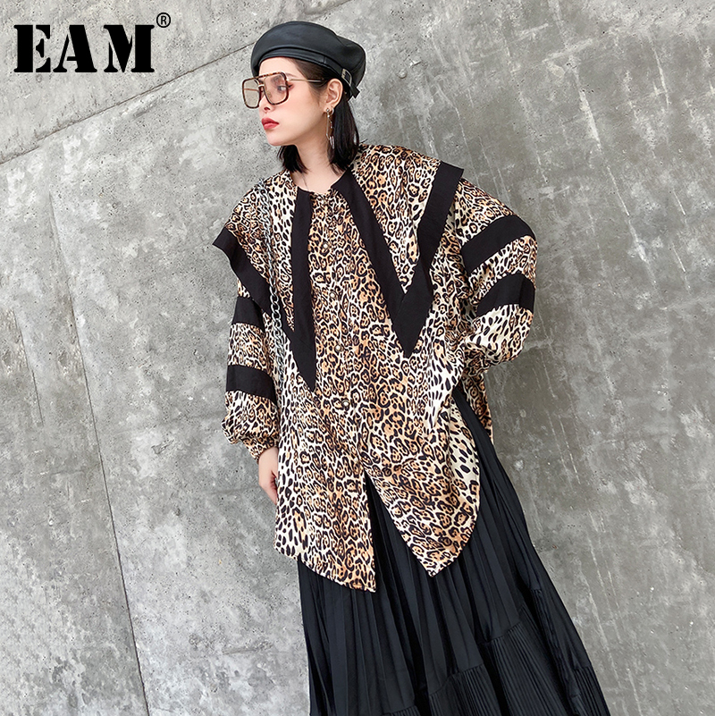 [EAM] Women Leopard Printed Split Big Size Blouse New Lapel Long Sleeve Loose Fit Shirt Fashion Tide Spring Autumn 2020 1R462