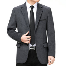 Man Elegant Jacket Suit Navy Blue Grey Plain Colour Business Outfit Male Smart Casual Slim Fit Notched Collar Blazer Men Garment