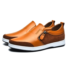 Italian Style Men Loafers Shoes Casual Increase Within Leather Elegant Black Brown Shoes Slip on Party Wedding Pointed Shoes *