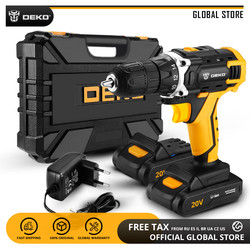 DEKO New Arrival Sharker 20V Electric Screwdriver DC Cordless Drill for Woodworking LED Mini Power Driver Home DIY Power Tools