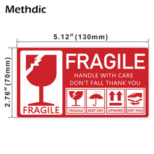 Methdic 250pcs/roll 130x70mm self-adhesive Red Fragile Label Fragile Stickers for Logistics shipping and packing 9mm round packing ce regulated self adhesive label stickers black 192 x 15 pack