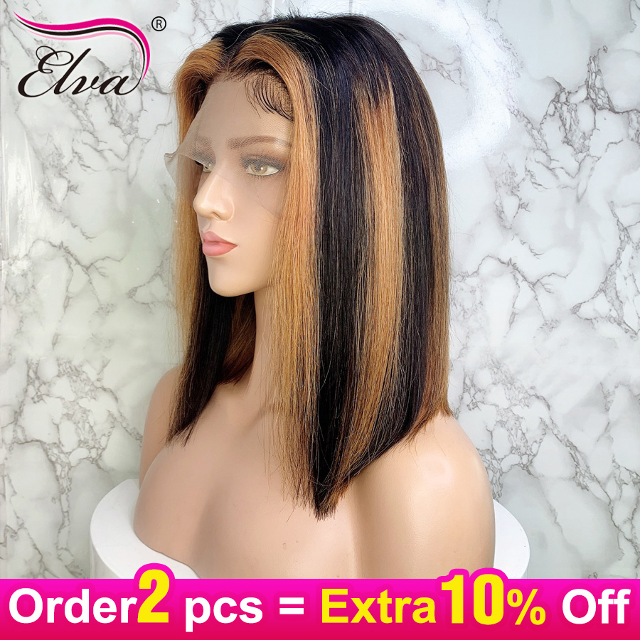 Elva Hair 13x6 Human Hair Bob Wigs For Black Women Pre Plucked With Baby Hair Ombre Straight Short Lace Front Wig Remy Hair