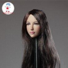 """חולם DR001 1:6 נקבה ילדה ארוך שיער ראש גילוף אסיה יופי ראש לפסל עבור 12 """"פעולה איור DIY"""