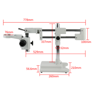 Image 3 - Doppel Arm Boom Stand Für Fernglas/Trinocular Stereo Zoom Mikroskop PCB Industrie Labor Mikroskop 32MM A1 Fokus 76mm Ring Halter