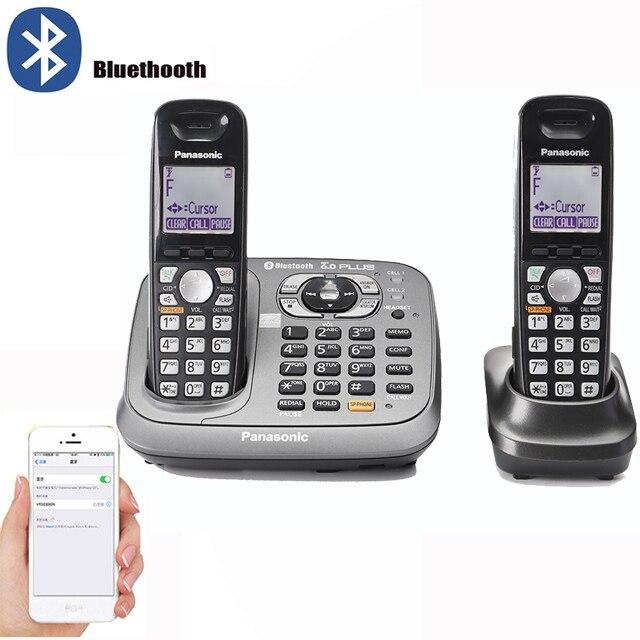 Bluethooth Fuction DECT 6,0 teléfono fijo inalámbrico Digital con sistema de respuesta teclado manos libres teléfonos inalámbricos para el hogar negro