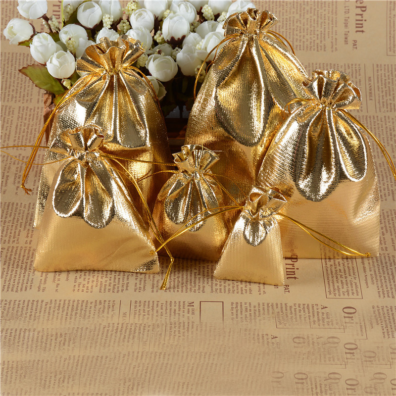 Drawstring Gift Bags Gold And Silver Foil Bags Jewelry Gift Bags Accessories Packaging Gold/Silver Color Cloth Jewelry Pouches