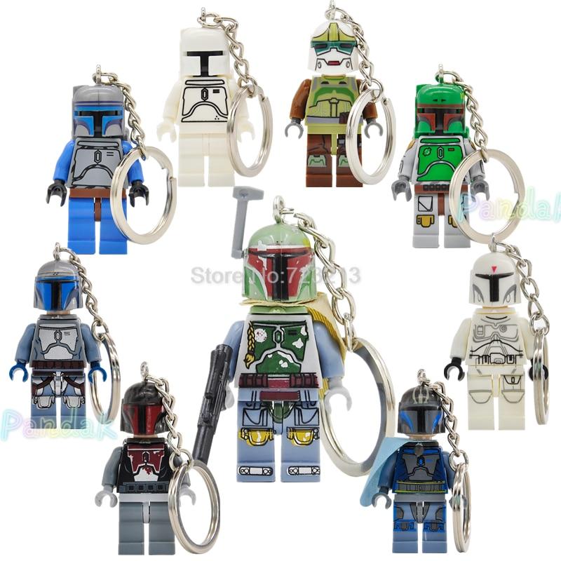 New White Fett Jango Fett Star Wars Figure Keychain Mandalorian Pre Vizsla Customize Building Blocks Toys Legoing