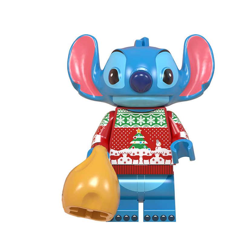 WM6076 Gratis Pengiriman Santa Claus Grinch Jack Minnie Mickey Kartun Aksi Blok Bangunan Natal Hadiah untuk Anak-anak Mainan 348