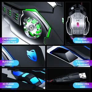 Image 5 - Ratón profesional para videojuegos, 3200DPI, ratón óptico USB con LED, con Cable, ergonómico, para ordenador portátil y PC