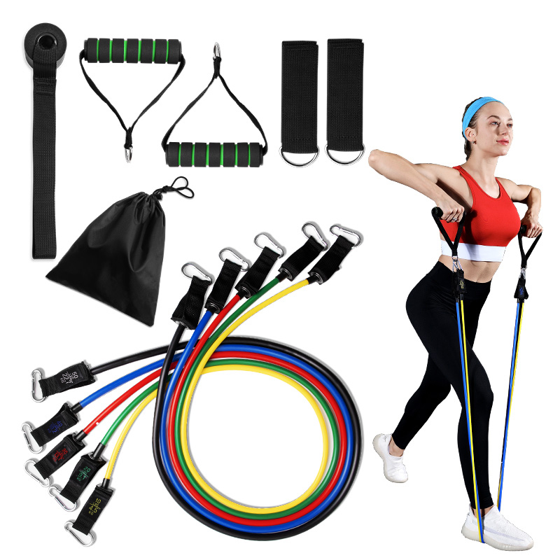 Набор эластичных трубок для тренировок, комплект эластичных эспандеров для пилатеса, фитнеса, 11 шт.-5