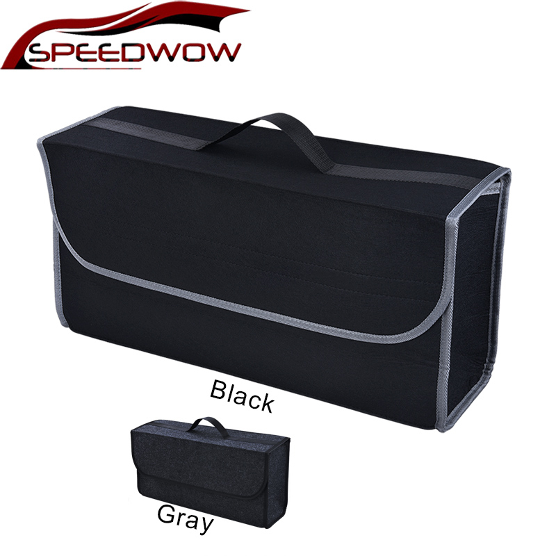 SPEEDWOW Car Trunk Organizer Car Soft Felt Storage Box Cargo Container Box Trunk Bag Stowing Tidying Holder Multi-Pocket