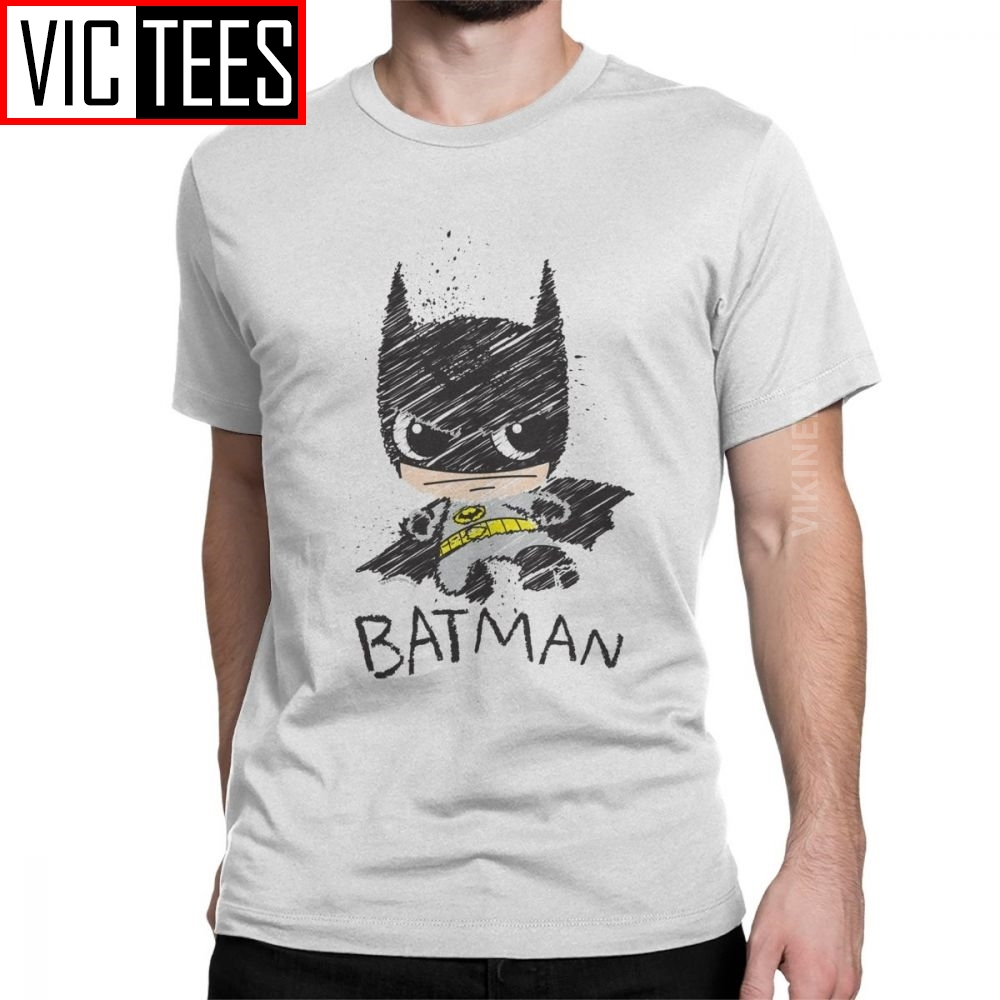 Men's Tshirt Mini Classic Batman Sketch Hipster 100 Percent Cotton T Shirt Crewneck Clothes Oversized For Male