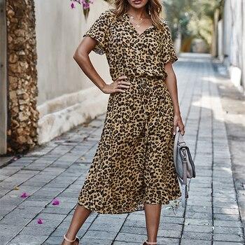 Ladies Bohemian Leopard Print Shirt Dress 4