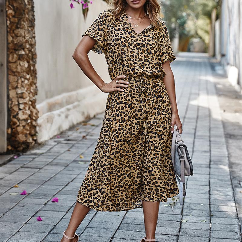 Ladies Bohemian Leopard Print Shirt Dress Women Casual Midi Holiday Summer Dress Female A line Loose Women Beach Dress Vestidos