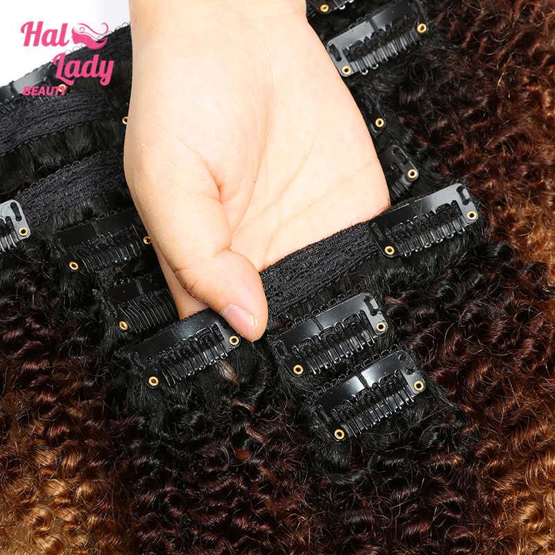 Halo Dame 8Pcs Set Dicke Afro Verworrene Lockige Clip in Doppel Schuss Haarteil Haar Extensions 1b/4/27 1b/99j Ombre Brasilianische Remy Haar
