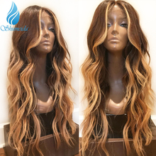 13*6 Lace Front Hair Wigs for Women With Baby Highlight Brown Color Body Wave 100% Human Brazilian Remy
