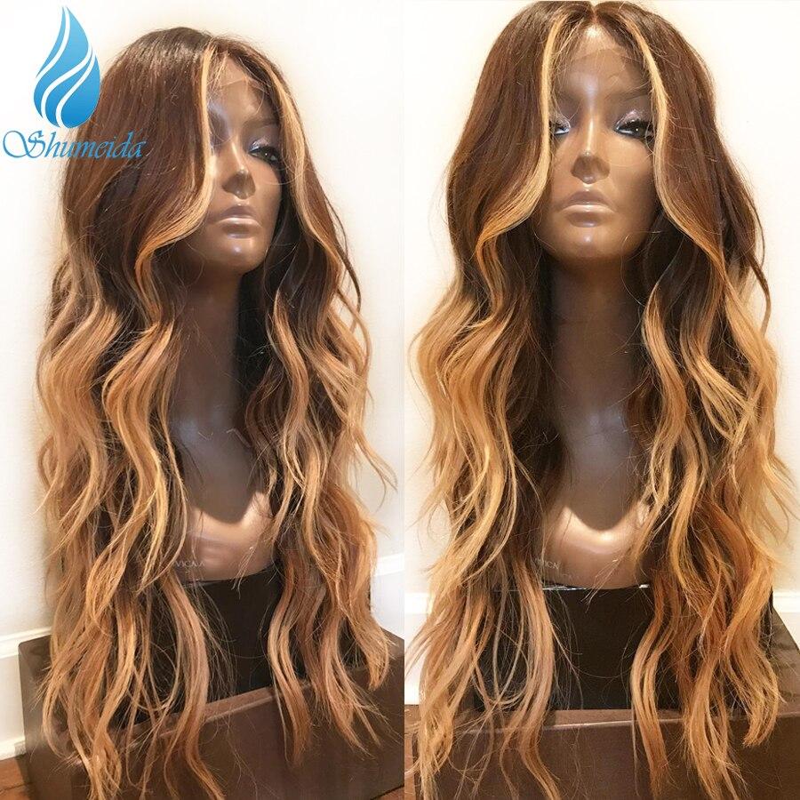 13*6 передние волосы на кружеве парики для женщин с детскими волосами Выделите коричневый цвет парики с волнистыми волосами 100% человеческие волосы бразильские парики Remy