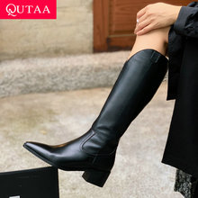 Square Heel Mid-Calf-Boots Women Shoes Pointed-Toe QUTAA Zipper Autumn Winter Fashion