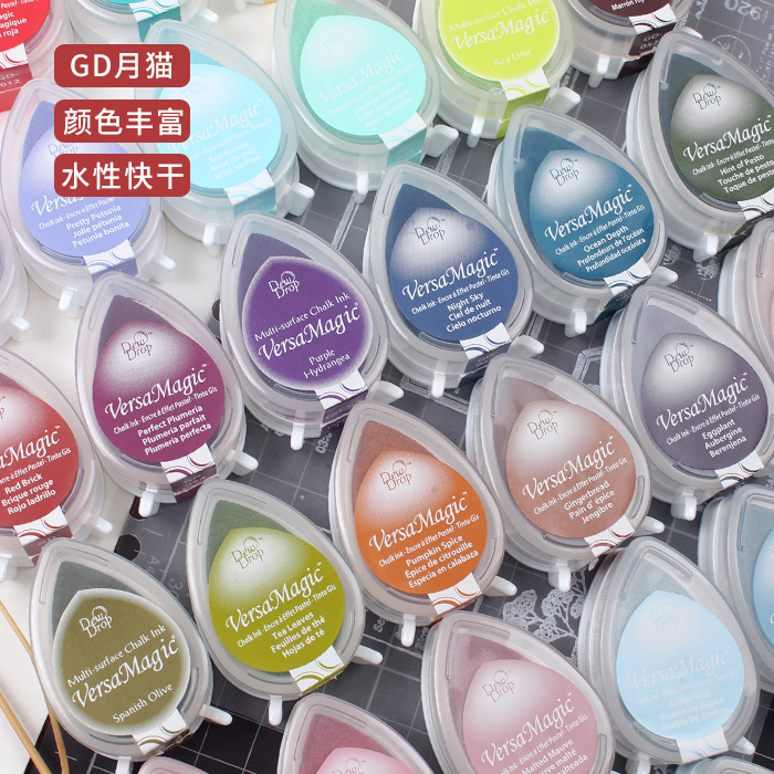 Japan imported water droplets GD quick-drying inkpad hand account decoration wood seal rubber stamp supplies cinnabar stamp pad