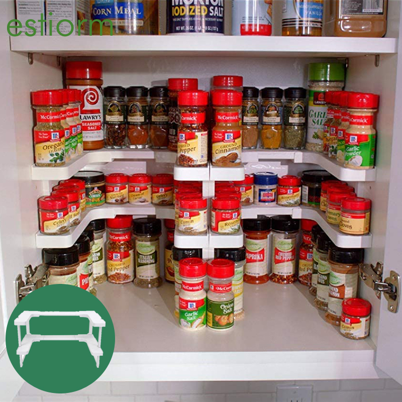 Deluxe Stackable Spicy Storage Shelf Adjustable Expandable Seasoning Spice Rack Pantry Cabinet Organizer Kitchen Shelves White Racks Holders Aliexpress