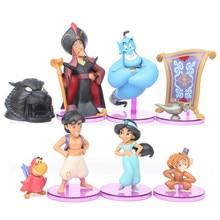Disney księżniczka Aladdin figurki Anime Doll Jasmine Genie Jafar Anime rysunek pcv figurki zabawki świąteczny prezent dla dziecka