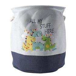 Sıcak katlanabilir depolama sepeti karikatür dinozor çocuklar oyuncaklar tuval depolama sepeti kirli giysiler çamaşır kabı varil ev Organiz