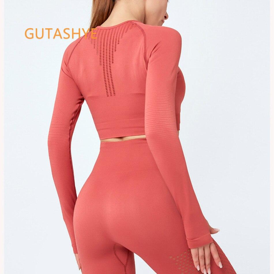 Esportes para Mulheres de Fitness sem Costura Gutashye Manga Longa Ginásio Mulher Camisa Esporte Apertado Yoga Topo Treino Feminino Camisetas
