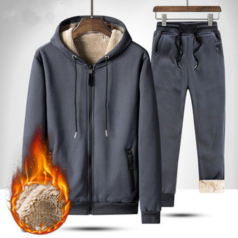 Nice Winter Warm Tracksuit Set Fleece Hooded Sweatshirt And Sweatpants 2 Pcs Sets Men VogueThicken Hoodies Jacket+Pant Set Pop