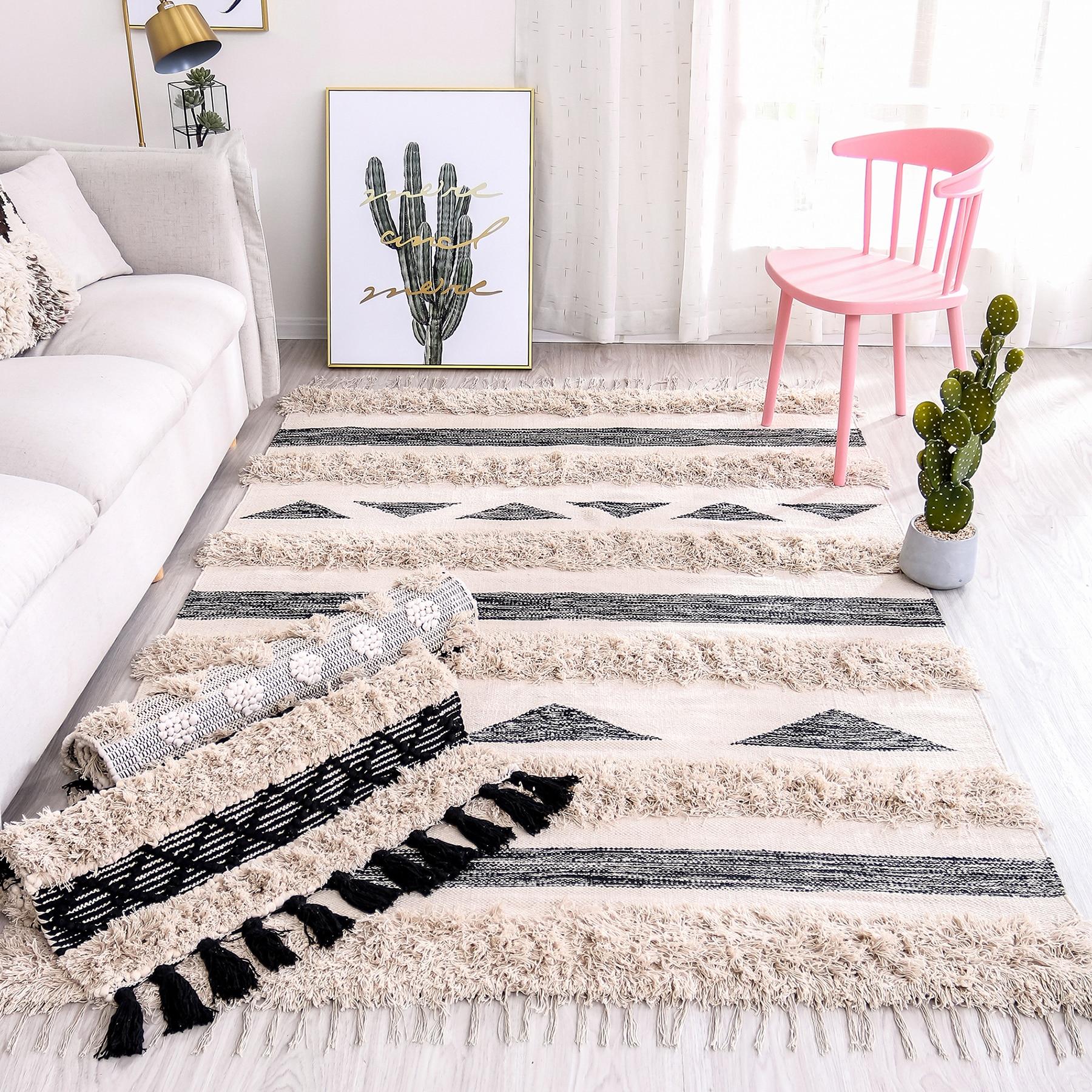 India Hand Woven Cotton Carpets For Living Room Morocco 160x230cm Rugs Bedroom Tassels Bedside Rug Bath Mat Doormat Room Carpet