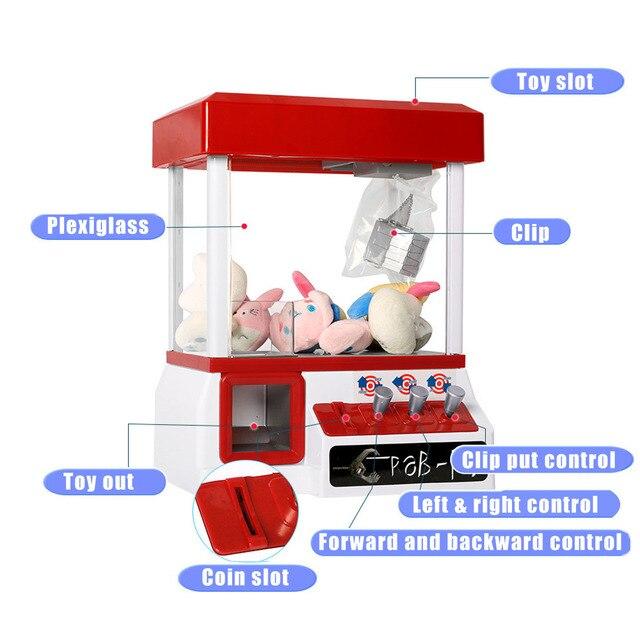 Máquina Expendedora de estilo carnaval para niños, juego de máquina de premios con garra de caramelo Grabber, juguete para niños con música y luces, máquina de muñecas con Clip de moda