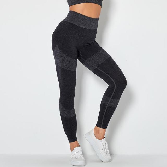 SVOKOR Seamless Workout Leggings High Waist Push Up Fitness Leggings Women Gym Printed Female Pants Stripe Running