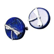 Chinese Style Creative Earrings S925 Silver Ethnic Style Handmade Natural Lapis Lazuli Simple Earrings цена в Москве и Питере