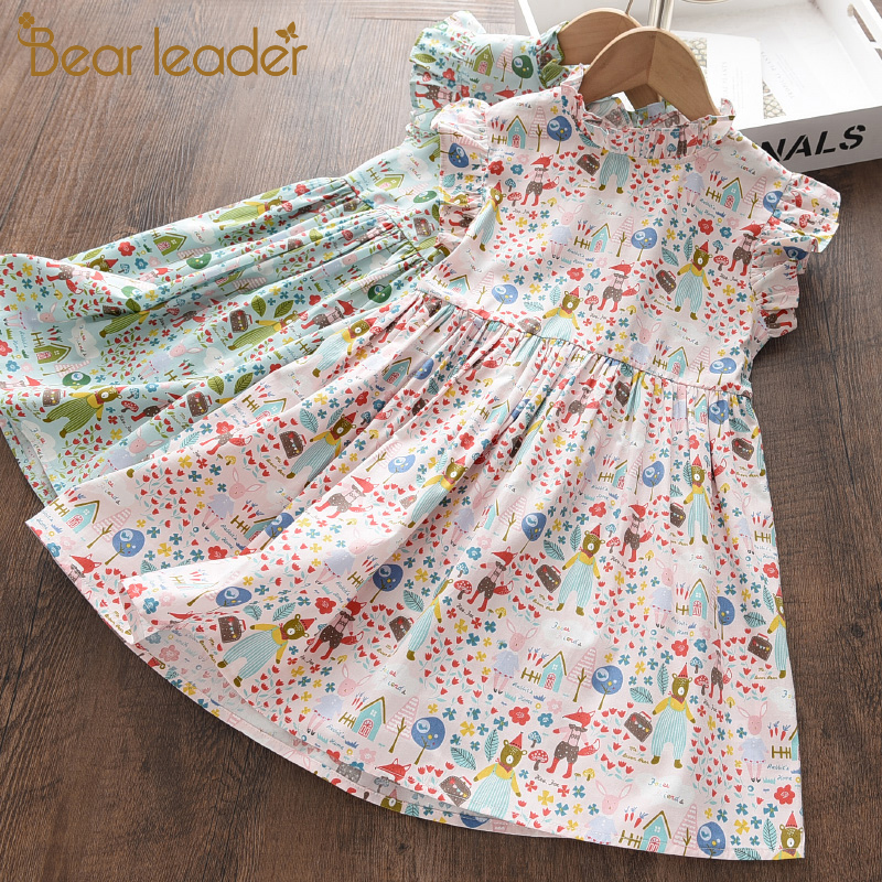 Bear Leader/Детское платье принцессы с рисунком для маленьких девочек; Летние Платья с цветочным принтом; Праздничные вечерние платья для маленьких детей; Vestido
