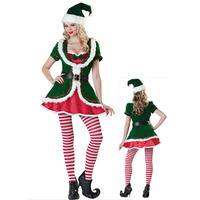 Adults Green Christmas Costume Festival Santa Clause for Women Carnival Fun At Your Xmas Party Elf Festival Fancy Dress
