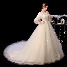 Cheap Court Train Bride Wedding Dress O Neck Pregnant Women Rojo Vestidos De Novia Ball Gown Casamento Trem Tribunal