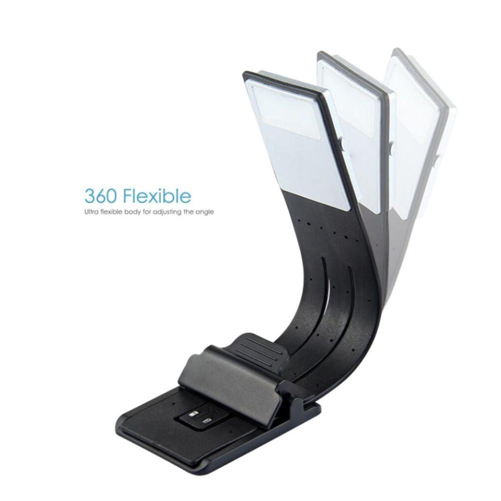 LEDGLE 2020 Rechargeable Reading Lamp Compact Book Light Flexible LED Light Clip-on LED Lamp for Kindle and Book 4 Modes Black 2