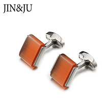 Low-key Funny Cat's Eye Stone Cufflinks For Mens JIN&JU High Quality Luxury Cufflinks With Box Silver Color Men's Jewelry(China)