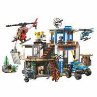 New 705pcs Legoinglys City Series Mountain Police Headquarters Building Block Educational DIY Toy for Children Gift 10865
