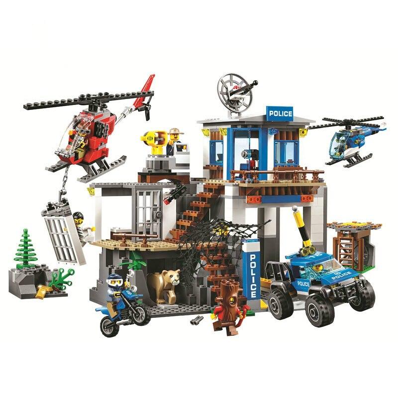 Novo 705 pçs legoinglys série cidade montanha polícia sede bloco de construção educacional brinquedo diy para crianças presente 10865
