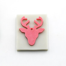 Food Grade Lovely Shiny deer head shape silicone mold elk keychain silicone mold(China)