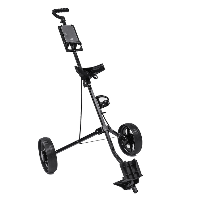 Golf Pull Cart Iron Black Adjustable Golf Trolley Cart 2 Wheels Push Pull Golf Cart Aluminium Alloy Foldable Trolley With Brake 6