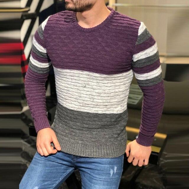 Мужской плотный трикотажный свитер в полоску, с длинным рукавом и круглым вырезом 2