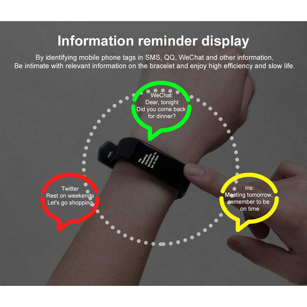 Moda spor spor kordon akıllı saat uyku kalp hızı kan basıncı bilezik Tracker Smartwatch bileklik kadın erkek izle