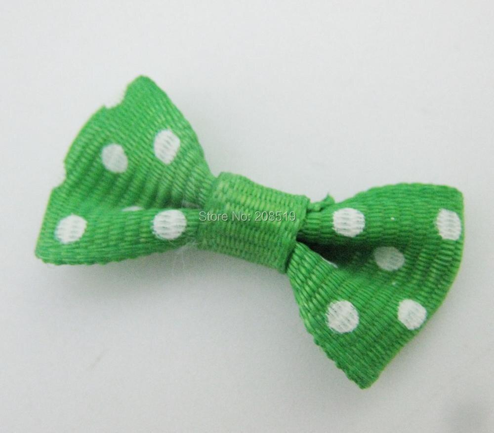 FZNNWE 100 шт маленький размер корсажная лента бабочка в горошек разноцветные DIY Швейные принадлежности ручной работы банты для волос Детские - Цвет: 20 dark green