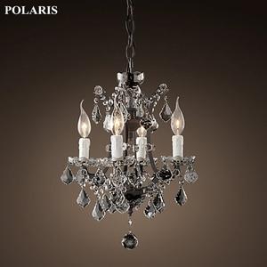 Image 2 - Vintage rustykalny żyrandol kryształowy świeca żyrandole wisiorek lampa wisząca światło do jadalni