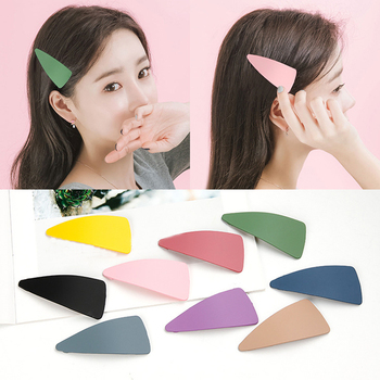 1PC New Sweet Candy Color Matte Hairpins BB Clip Cute Women Girls Geometric Hair Clip Bangs Ladies Hair Accessories Hot Sale image